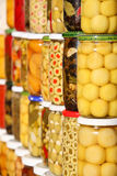Pickled olives and vegetables Stock Images