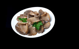 Pickled Oyster Mushrooms on white plate isolated on black backgr Stock Images