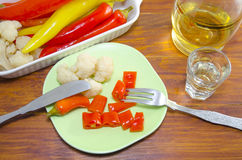 Pickled pepers, cauliflower and olives on a plate Royalty Free Stock Image