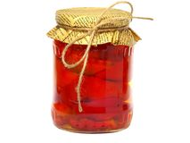 Pickled pepper in a glass jar Stock Photography