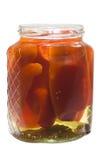 Pickled pepper in open jar Stock Image