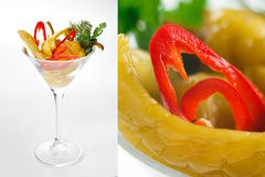 Pickled peppers. In martini glass isolated on white Stock Photos