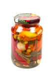 Pickled peppers and spices in a bank Royalty Free Stock Photos