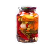 Pickled peppers and spices in a bank Royalty Free Stock Images