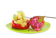 Pickled peppers stuffed with cabbage Stock Photo