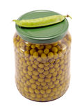 Pickled preserve pease glass pot fresh one shell Royalty Free Stock Photography