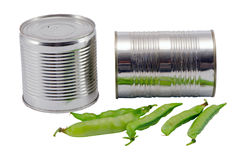 Free Pickled Preserve Pease Tin Can Pot Fresh One Shell Royalty Free Stock Image - 27186816