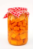 Pickled pumpkin. Jar of home made pickled pumpkin (sweet-sour preserve Stock Images