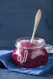 Pickled red cabbage in glass jar Royalty Free Stock Photo