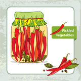Pickled red chili peppers in the glass jar with bay leaf and black pepper Stock Image