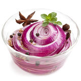 Pickled Red Onions with Spices and Herbs. Isolated on white Stock Photography