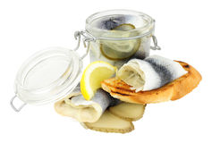 Pickled Rollmop Herrings Stock Photography
