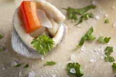 Pickled rollmops herrings Stock Photography