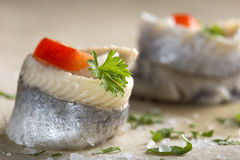 Pickled rollmops herrings Royalty Free Stock Photography