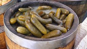 Pickled Salted Gherkins in a Barrel