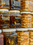 Pickled shrimp in glass cans Royalty Free Stock Photography