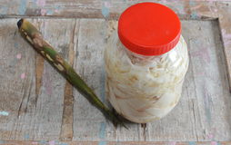 Pickled slice bamboo shoot in plastic bottle Royalty Free Stock Images