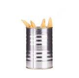Pickled small corn in can. Stock Images