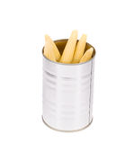 Pickled small corn in can. Royalty Free Stock Photography