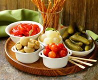 Pickled snacks (tapas) Royalty Free Stock Images