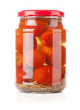 Pickled tomato in glass Stock Images