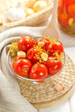 Pickled tomatoes. With garlic and fennel Stock Photos