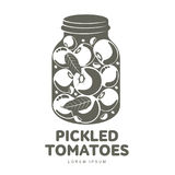 Pickles glass jar flat illustration. Pickled tomatoes glass jar logo for your design. Home canning, tomatoes, marinade, black peppercorn, bay leaf, brine Royalty Free Stock Image