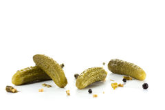 Pickled vegetables. Pickled green gherkins with spices Royalty Free Stock Photos