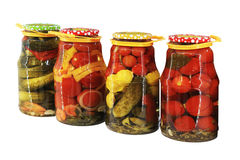 Pickled vegetables in banks Royalty Free Stock Photo