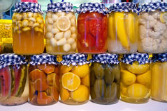 Pickled Vegetables And Fruit In Jars Royalty Free Stock Image