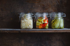 Pickled vegetables. In glass jars Royalty Free Stock Images