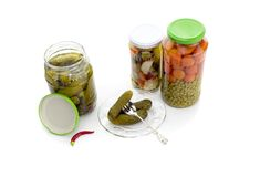 The pickled vegetables in jars Stock Photography