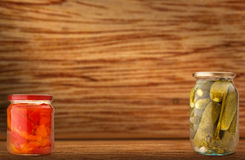 Pickled vegetables in jars Stock Photos