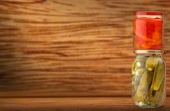 Pickled vegetables in jars Stock Image
