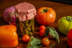 Pickled and vegetables like tomatoes, cherry tomatoes stock image