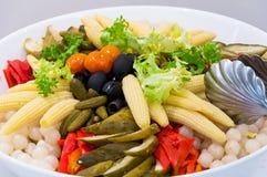 Pickled vegetables salad. A big bowl of pickled vegetables salad Royalty Free Stock Photo