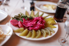 Pickled vegetables in taverna Stock Photos