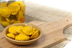 Pickled Yellow Pattypan Squash Royalty Free Stock Photos
