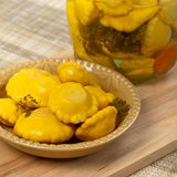 Pickled Yellow Pattypan Squash Stock Photography