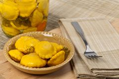 Pickled Yellow Pattypan Squash Royalty Free Stock Photo