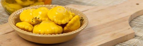 Pickled Yellow Pattypan Squash Stock Photo