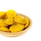 Pickled Yellow Pattypan Squash Royalty Free Stock Image