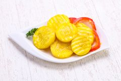 Pickled zucchini in the bowl Royalty Free Stock Photo