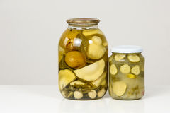 Pickled zucchini and cucumber Stock Photography
