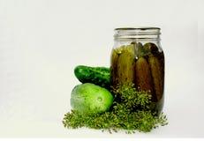 Pickles à l'aneth en boîte par maison Image stock