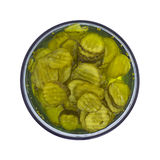 Pickles in Bowl Top View Stock Images
