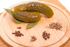 Pickles cucumber and spices Stock Photography