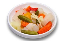Pickles in a dish isolated Stock Image
