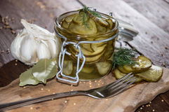 Pickles in a glass Stock Photography