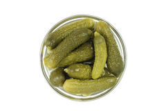 Pickles in a glass container Royalty Free Stock Image